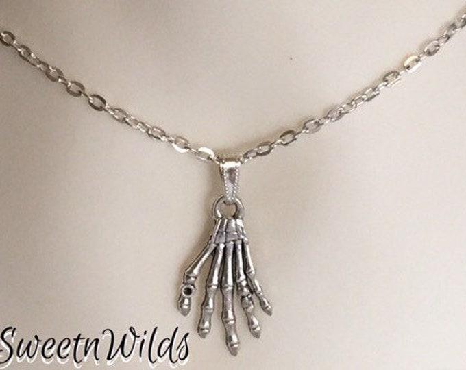 Skull Hand Silver Necklace -Finger Jewelry-Skeleton Hands-Boney Fingers-Skull Pendant-