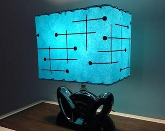 Mid Century Style  Fiberglass Lamp Shade Retro Modern Rectangular Turquoise