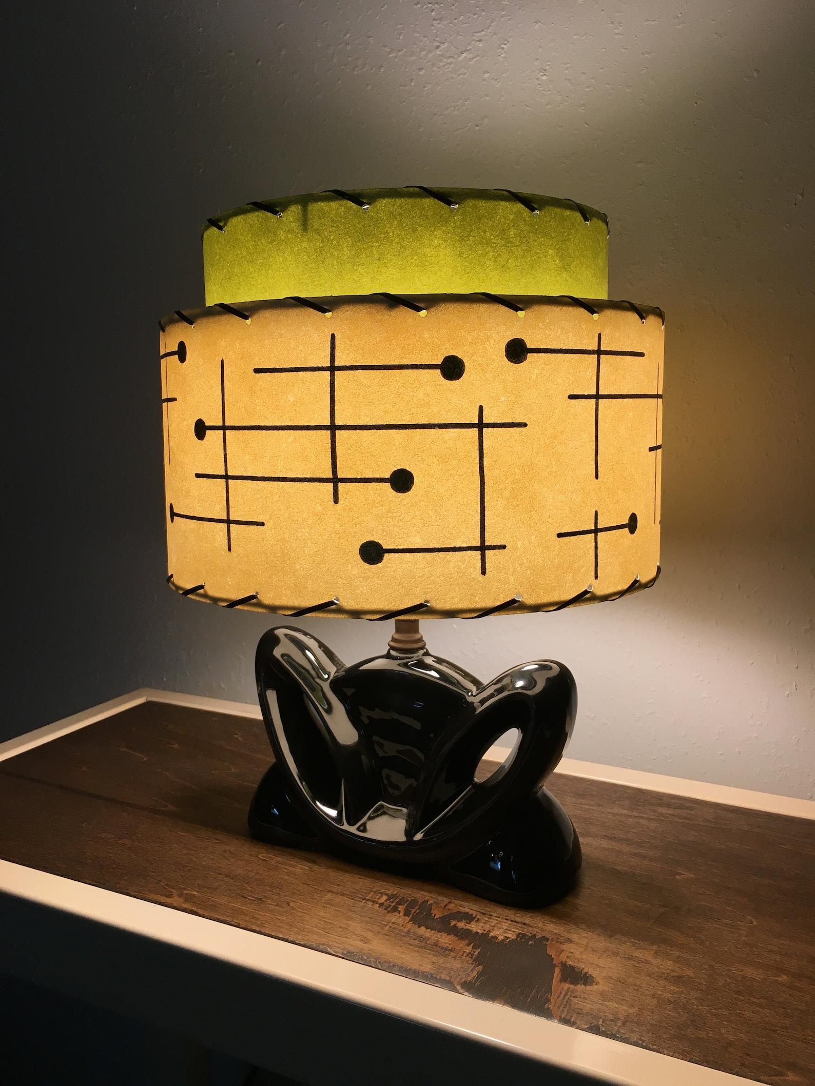 Matching pair of vintage mid century modern fiberglass drum lamp shades