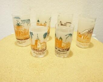 Lot of 6 Santa Clara Mission California souvenir tumblers juice frosted mission scene glass collectible kitsch retro kitchen Pueblo