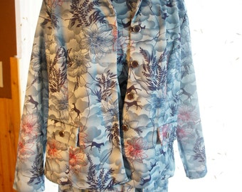 2 piece turquoise shift dress with jacket gray navy and pink large floral print with horses nice vintage dress with jacket plus size