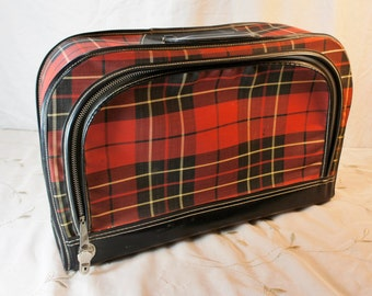 plaid red and black suitcase vintage luggage weekender travel carry on bag decor or storage