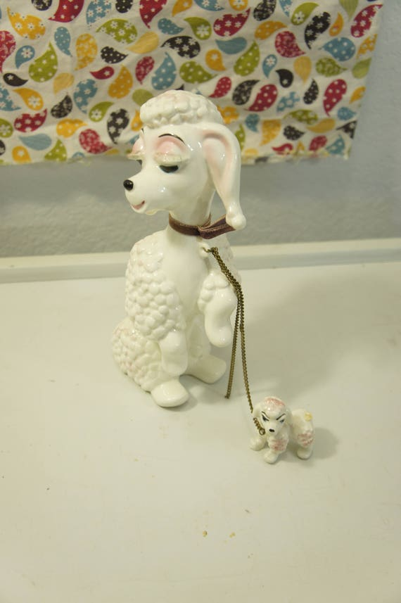 Vintage Kreiss Co Ceramic French Poodle Pink With Puppy Etsy