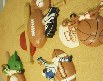 vintage 4 piece Burwood wall hangings 1992 sports wallp olaques homco football baseball basketball