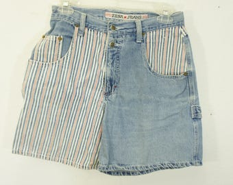 vintage ZENA high waist striped cargo denim shorts flat front 2 button low pockets belt loops sz 7 (28x6)