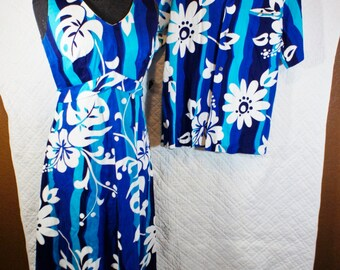 """Stunning Vintage Casual Aire Hawaiian Maxi Dress & Men's Button Front Shirt Reef Towers Honolulu 36"""" bust Navy Turquoise White 60s 70s"""