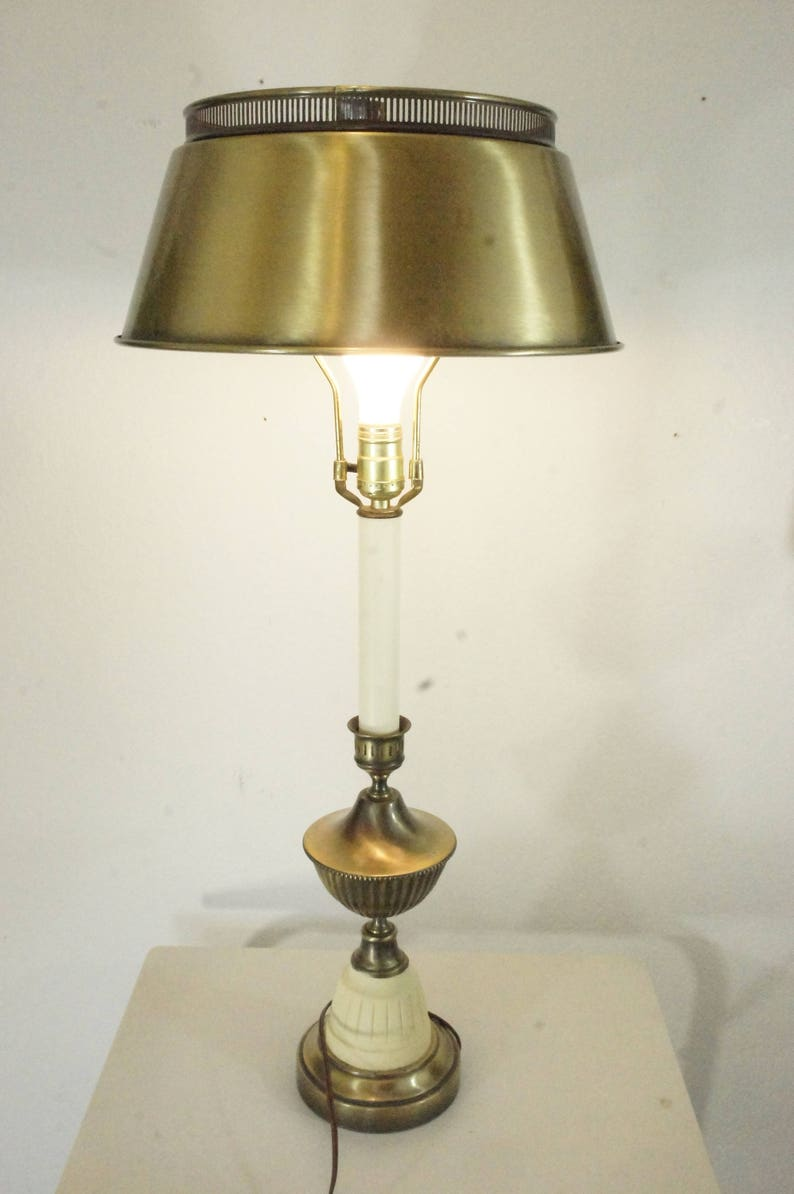 Brass And Cream Table Lamp Metal Shade Colonial Tall Living Etsy