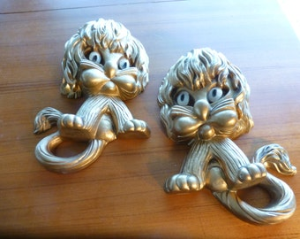 Pair Vintage Homco Lion wall hangings Nursery decor gilted lion wall hanging childs room daycare decoration
