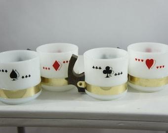 4 vintage siesta ware Poker Suit Coffee Mugs simulated wood handles Bridge Setretro bar man cave decor