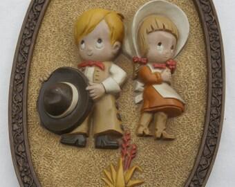 3D molded plastic wall hanging western boy and girl cowboy cowgirl oval fraemd nursery child room decor