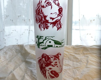 Libbey tall frosted glass with dogs and farm scene, retreiver, schnauzer, collie tea glass or vase