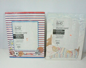 VIntage NOS Photo Mat choice Sport Theme Sleeping GIrl 11x14 mat 8x10 picture Scrapbook Craft Document Made in USA