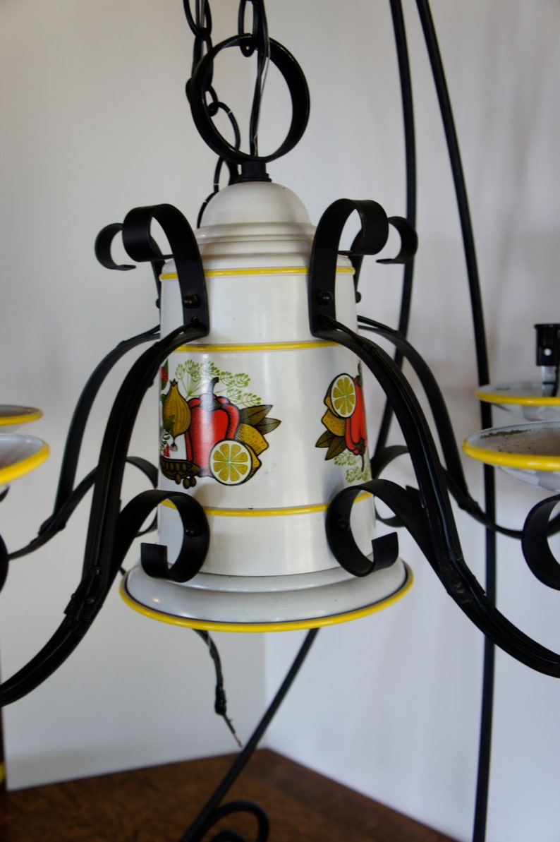 vintage 5 arm wrought iron and metal chandelier with fruit and vegetable pattern kitchen ceiling light