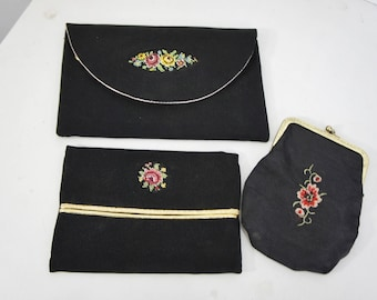 3 piece ladies accesory set clutch coin purse tissue holder black satin with tapestry/embroidered pink flowers prom dinner