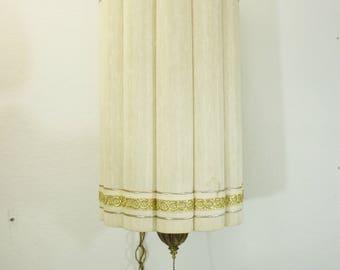 vintage Hollywood Regency Fluted Drum Pendant Swag lamp works Ivory Gold silk bedroom lighting