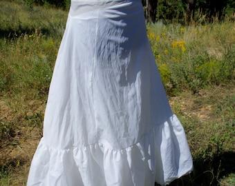 "vintage white petticoat floor length a-line crinoline layer 50""s  wedding dress slip 33"" stretch zip waist"