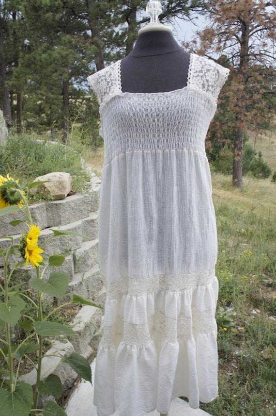 Vintage Aldens Fashions Ivory Gauze Dress Smocked