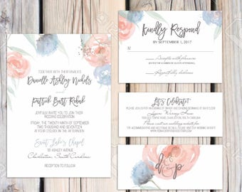 Jylian Suite-floral Dusty Blue and Greenery Wedding invitation suite