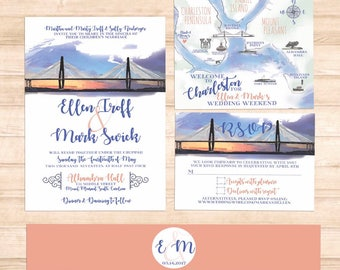 Charleston SC Watercolor Sunset Ravenel Bridge Invitation Suite