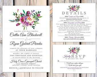 Cailin Floral wedding invitation suite