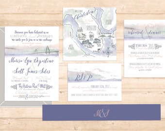 charleston Ravenel Bridge watercolor invitation suite