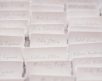 Deckled edge place cards, thank you cards.