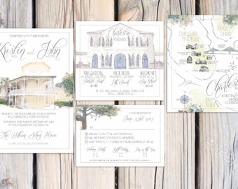 Emma Suite William Aiken House Wedding Invitations Suite