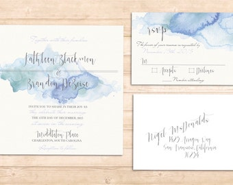 Lola invitation set. Blue aqua watercolor invitation set
