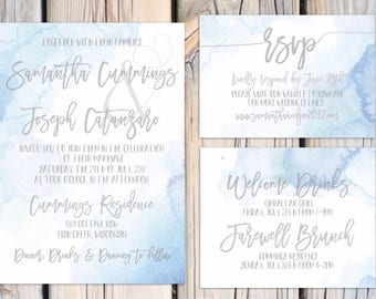 Isabel Suite Dusty blue watercolor wedding invitations