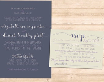 Lizzy Suite-Scrolly classic modern rustic invitation set