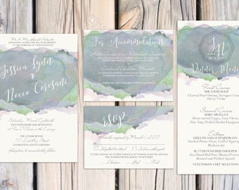 Jessi suite-purple green Wedding invitation