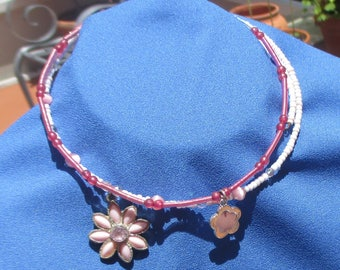 Lot Of Retro Pink Flower Wire Wrap Chokers