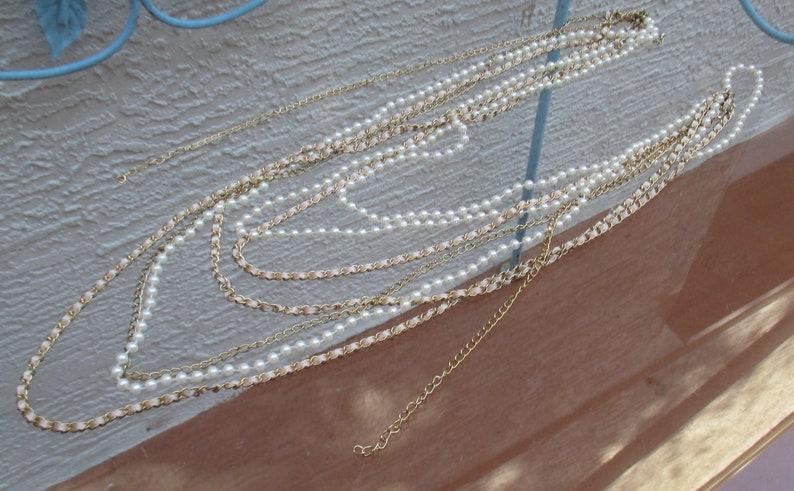Retro Multi Strand Faux Pearl Ribbon Chain Graduated Length Necklace Repair Repurpose