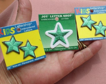 Lot Of Star Green Black Green White Embroidered Iron On Applique