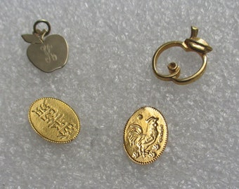 Lot Of Apple Fruit Shaped Pendants Plus Rooster Chinese Symbol Stamped Metal Tokens