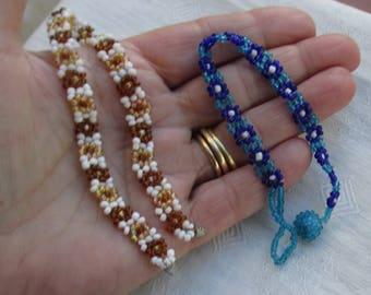 Lot Of Retro Woven Beaded Bracelets
