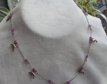 Retro Dolphin Purple Beaded Wire Necklace