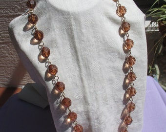 Retro Amber Colored Acrylic Beaded Linked Necklace
