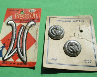 Vintage Iron On Initial W Metal Button Lot