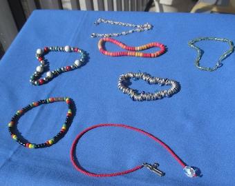 Lot Of Retro Beaded Bracelets Broken Necklace Piece Restring Repurpose