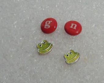 Retro Frog Red G N Diminutive Pierced Earrings