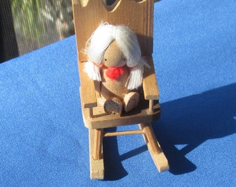 Vintage Russ Berrie Rocking Chair Doll Wooden Christmas Ornament 1978 Taiwan