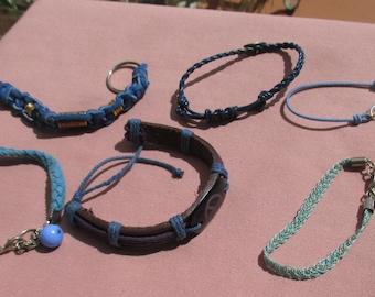 Lot of Retro Blue Rope Bracelets Hair Elastic  Keychain TLC