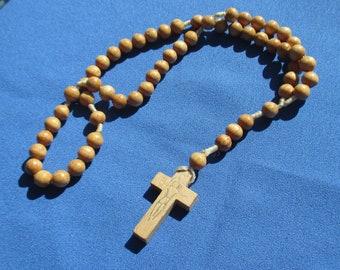 Retro Wood Beaded Rosary