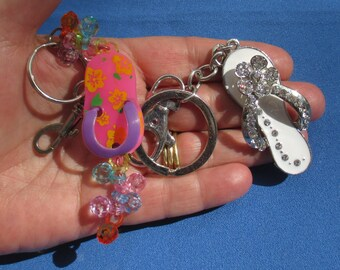 Lot Of Colorful Sandal Rhinestone Beaded Keychains