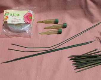Lot Of Vintage Floral Green Wooden Picks Water Picks Floral Arranging Supplies