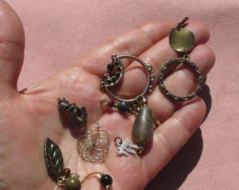 Lot Of Retro  Salvaged Assorted Beaded Dangles Pendants 925 Charm