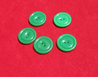 Lot Of Vintage Bright Green Plastic Buttons