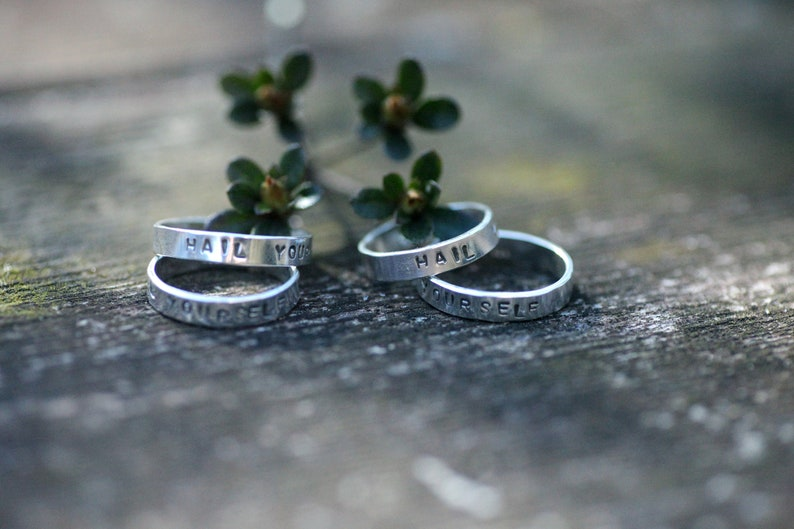 Made to Order to your size unisex Stamped Last Podcast Ben Kissel Ring Hail Yourself LPOTL Ring in Sterling Silver