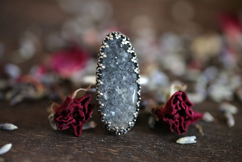 Handcrafted Sparkling Black Druzy Agate Statement Ring in 925 Sterling Silver size 7.25 7 14 Womens Intricate bezel set agate stone